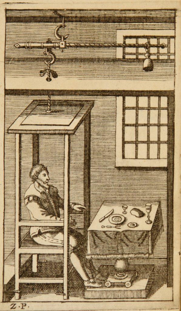 "Santorio, Santorio Antiporta di De statica medicina aphorismorum sectiones septem Padova, Giovanni Battista Conzatti, 1710 Trieste, Biblioteca civica ""A. Hortis"""